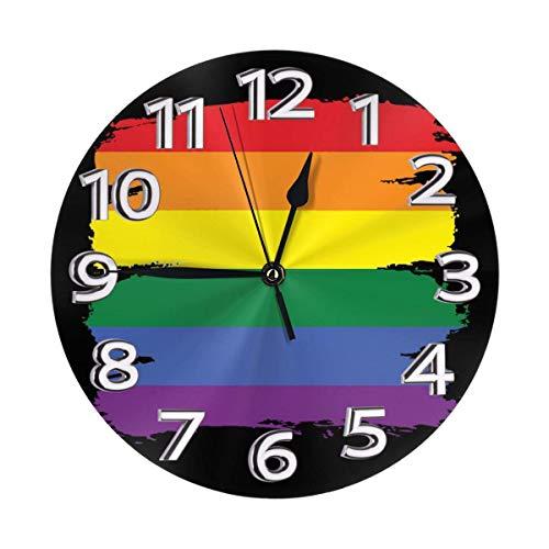 Oh Sweety Gay LGBT - Reloj de pared impermeable con números romanos, diseño de bandera de Reino Unido