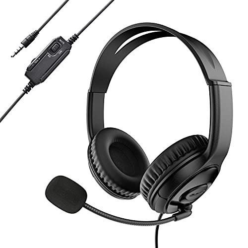 VOYEE Z890 Wired Headphone with Mic,Single 3.5 mm Audio Jack Stereeo Headset with Noise-Canceling for Office/Skype/Home/Online Interview/Classroom/Call Center