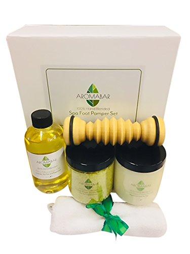 Spa Fuß- Pamper Geschenk Set beinhaltet Fuss-Massage-öl, Frische Füße Salze Aufweichen, Dead Sea Peeling & Aus holz Fuß- Roller Massagegerät