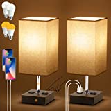 Set of 2 Bedside Lamp, Touch Control USB Table Lamp with 4 Bulbs,3 Way Dimmable Nightstand Lamp with 2 USB Ports & AC Outlet, Desk Lamps for Bedrooms Living Room, Small Table Lamp, Beige Fabric Shade