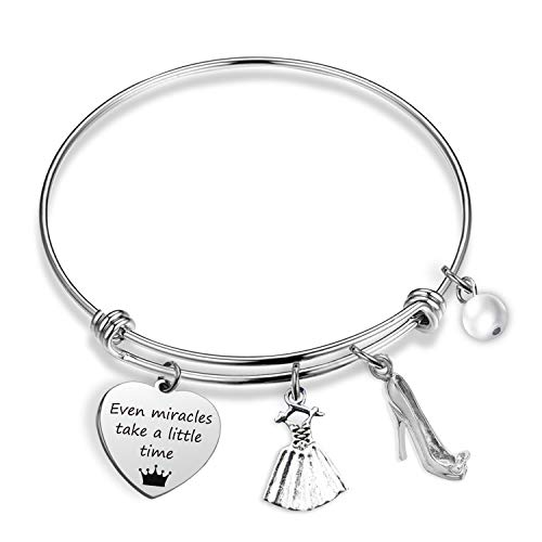 Inspired Women Bracelet Even Miracles Take a Little Time Princess Bracelet Disney Jewelry for Her Inspirational Gift Fairy Godmother Gifts (Cinderalla BR)