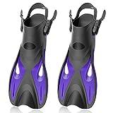 Snorkel Fins, Swim Fins with Adjustable Buckles, Open Heel, Travel...