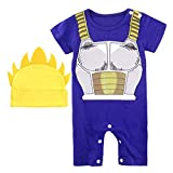 Vegeta Outfit Baby Costume, Cute Infant Toddler Newborn Goku Cosplay Romper Cartoon Pajamas Clothes (Blue, 3-6 Months)