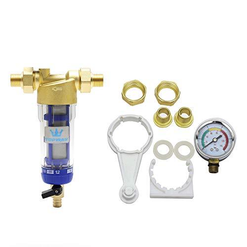 TOPWAY Wiederverwendbarer, waschbarer Sediment-Wasserfilter mit Manometer, Wasserhahn, Osmose-Vorfilter