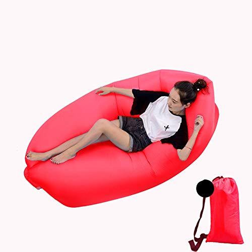 DWHJ Aufblasbare Lehnstuhl, bewegliche aufblasbare Sofa Mittagspause Rollbetten Stuhl, geeignet für Indoor Pool im Innenhof Grass Boden,Rot