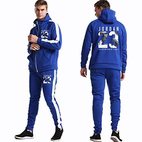 Mens 2 Pieces Stelt Jordan # 23 Basketbal trainingspak Set Casual Trainingspak Zipper Hoodie & Bottom Jogging Suit Jacket Sports Gym Broeken Broeken,D,L