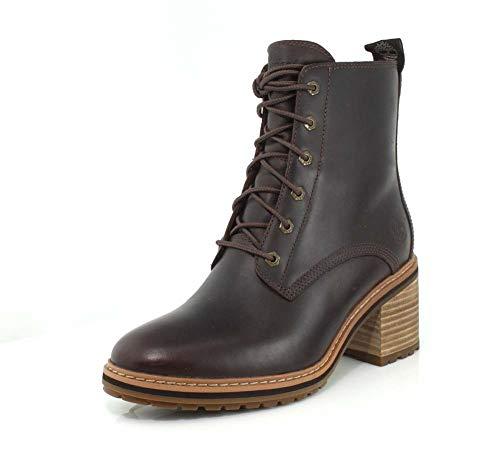 Timberland Women's Sienna High Waterproof Side Zip Boot Fashion, Dark Brown Full Grain, 8 M US