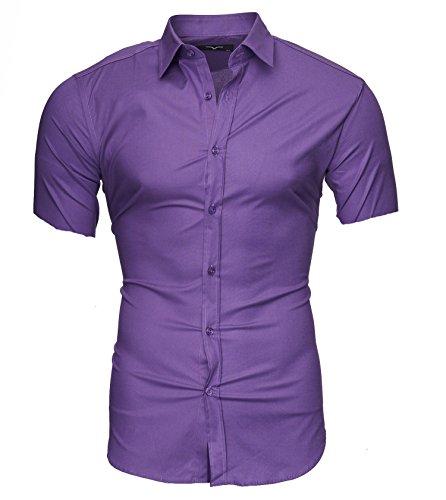 Kayhan Hombre Camisa Manga Corta, Unita 2446 Violet S