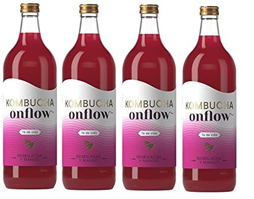 Onflow Té Kombucha en Base a SCOBY, Sabor a Remolacha y Mango, Bebida Vegana, Ecológica y Orgánica, Elimina Toxinas, Elaborado en España, Pack 4 x 1 Litro
