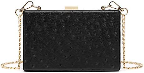 Women Ostrich Print Faux Leather Box Clutch Handbag Crossbody Purse Evening Bag with Gold Chain product image