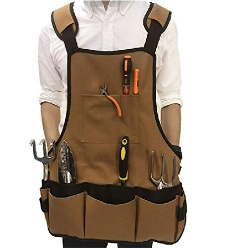 Heren Tool Schort met Multi Zakken, Professionele Tuingereedschap Tassen Gewassen Canvas Carpenter Apron, Heavy Duty Workshop Schort voor timmerman, Chefs, Garage, Kunstenaar