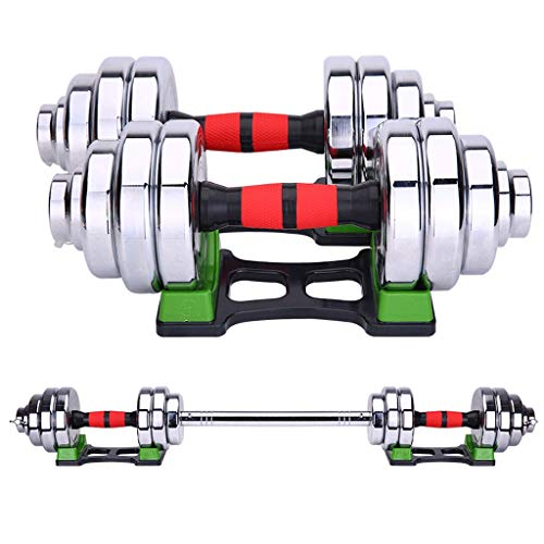 Aveo - Juego de mancuernas ajustables de 15 kg y 20 kg de peso, mancuernas ajustables de acero para hombre, equipo de fitness, mancuernas combinadas (color: 20 kg (10 kg x 2)