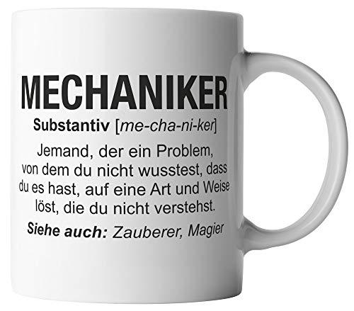 vanVerden Tasse - Mechaniker Wikipedia - Job Motto Beruf - beidseitig Bedruckt - Geschenk Idee Kaffeetassen mit Spruch, Tassenfarbe:Weiß