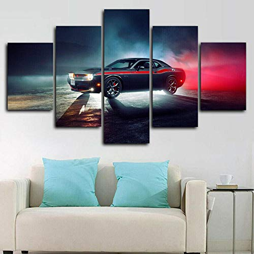 VYQDTNR - 5 Panels Wall Art Canvas Home Art Decoration Abstract Challenger Super Sports Car Canvas Mural Living Room, Bedroom- 5 Piece Wall Decoration Framed Artwork