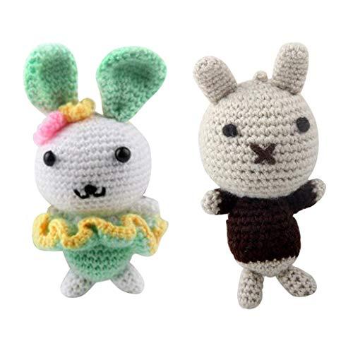 B Baosity 2 Juego de Animales Amigurumi Crochet Kit Conejo 15cm de Alto DIY Sofá Adornos de Oficina en Casa