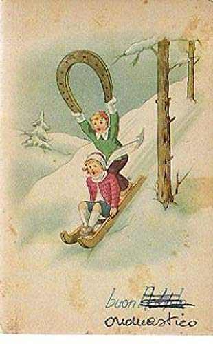 CARTOLINA 15077 cartolina tematica Auguri Buon Onomastico Natale Bambini 1950