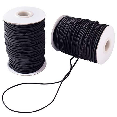 2 Rollo 3 mm Cordón Elástico Hilo de Nylon Cuerda Elástico Negro Tela Hilo para Cuentas DIY Manualidades 40m (2pcs 3mm...