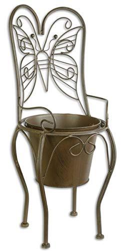 Casa Padrino Jugendstil Blumentopf Braun 24,1 x 25,5 x H. 59 cm - Metall Planzentopf im Gartenstuhl Design - Garten & Terrassen Deko