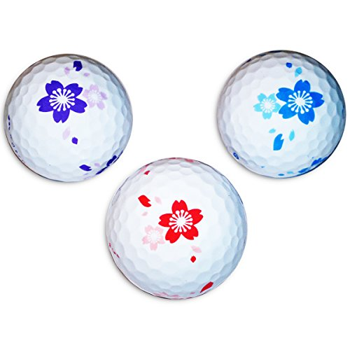 Vision-Goker 6 Bunte Golfbälle Blossom - Design Distance Lady Soft Lustig Rot Blau ideales Golf Geschenk für Frauen
