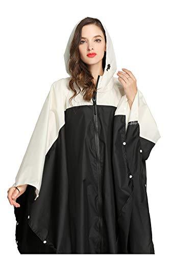 Women Rain Poncho Stylish Polyester Waterproof Raincoat Free Size with Hood Zipper Styles (Black White)
