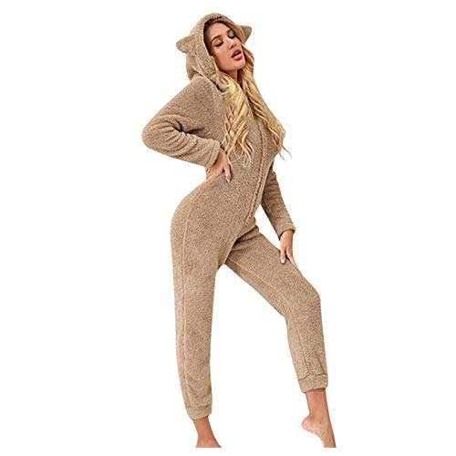 Moda de Las Mujeres Manga Larga con Capucha Faux Jumpsuit Pijamas Casual Invierno clido