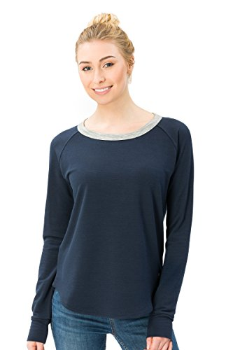 super. Natural Sweat-Shirt W City Crew Femme en Laine mérinos S Navy Blazer/Ash Melange