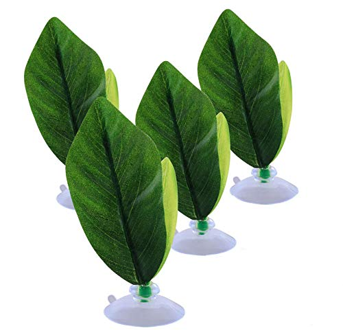 Fashionclubs 4pcs Betta Bead Leaf Hammock, Silk Betta Fish Leaf Hammocks Pad Lounger Toys Lightweight and Realistic Fish Hideout Plastic Aquarium Plants Accessories for Fish Tank Decorations