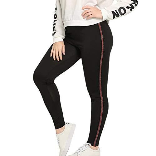 Xmiral Hose Damen Seite Streifen Gedruckte Yogahosen Leggings Große Größe Skinny Lässige Sporthose Jogginghose Turnhose(Rot 3,3XL)