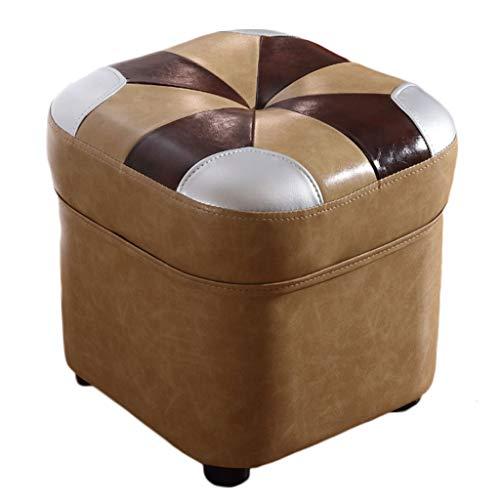 Taburete Bajo Pequeño Reposapies Puff Sofa Salon Oficina Escabel, 36x36x38cm, Negro, H070ZJ (Color...