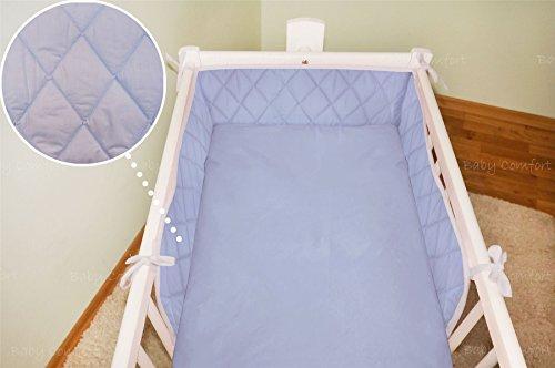 2 pièces bébé avec couette + BUMPER Lot pour s'adapter au 90 x 40 cm de berceau – Bleu