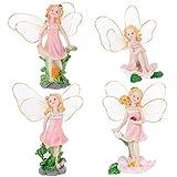 BESPORTBLE 4 Piezas Figuras de Hadas en Miniatura Figuras de Hadas Elfos de Resina Modelo de Niña Alas de Hadas Escultura de Ángel Casa de Muñecas Accesorios para Tarta