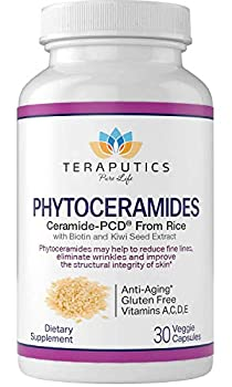 Phytoceramides Ceramide-PCD® Made from Rice - w/ Biotin and Kiwi Seed - Non GMO Gluten Free Hair Skin and Nails Vitamin Reduce Fine Lines & Wrinkles Strengthen Hair & Nails 30 Veggie Capsules