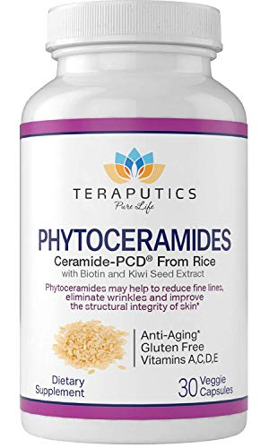 Phytoceramides Ceramide-PCD® Made from Rice - w/ Biotin and Kiwi Seed - Non GMO Gluten Free Hair Skin and Nails Vitamin, Reduce Fine Lines & Wrinkles, Strengthen Hair & Nails, 30 Veggie Capsules