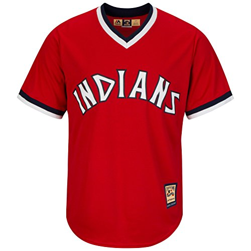 Majestic Cleveland Indians 1974 Cooperstown Cool Base MLB Trikot Rot, XXL