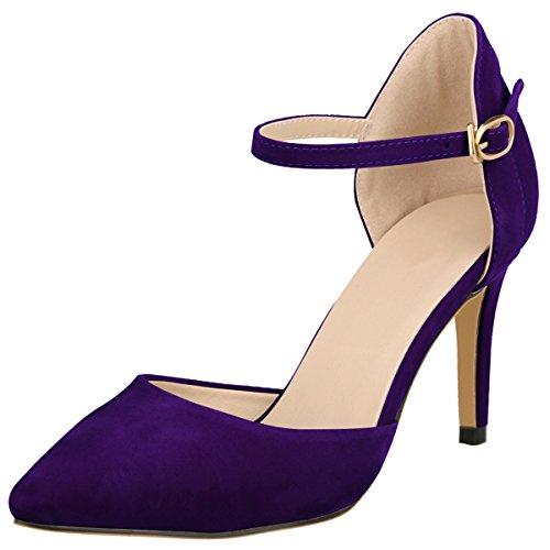 Wealsex Zapatos de Tacón 8CM Tobillo Correa Hebilla Elegante para Fiesta y Boda para Mujer(Morado,40)