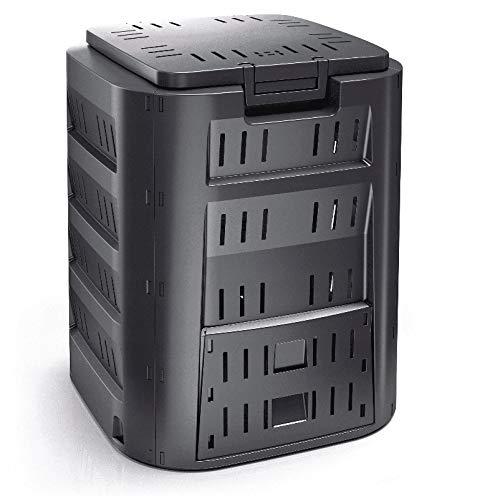 rg-vertrieb Garten Komposter 320L Schwarz Thermokomposter Kompostbehälter Kunststoff Deckel Schiebeklappe