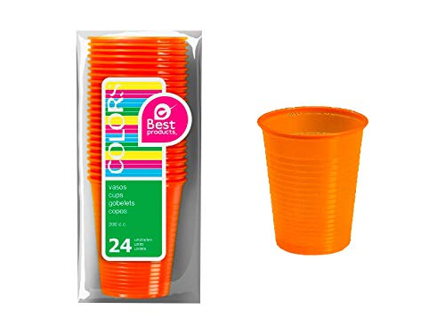 CEPEDANO - 【24 pezzi】Bicchiere di plastica arancione 200 cc bicchieri di plastica per bambini