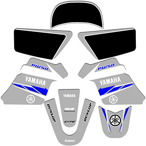 YAMAHA PW 50 PW50 GRAPHICS KIT DECALS DECO Fits Years 1990-2018 Enjoy Mfg (GRAY/BLUE)