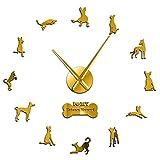 hufeng Reloj de pared con diseño de sabueso ibicenco y silueta de espejo adhesivo 3D, reloj de pared de raza de perro ibicenco, reloj de pared de oro de 37 pulgadas