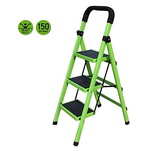 Opvouwbare trapladder, 3 trapladders - Opvouwbare metalen huishoudelijke multifunctionele ladder met rubberen antisliplaadmatten, inhoud 330 lbs - groen