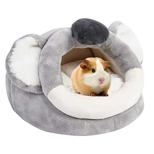 URIJK Kleintierbett Kuschelbett Warm Plüsch Baumwolle Tierbett Schlafen Bett Höhle Zubehör für Meerschweinchen Kaninchen Hamster Ratten Kleintierkäfig (S, Koala)