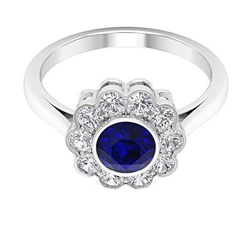 Anillo de compromiso con halo floral, piedras preciosas redondas de 1,70 quilates, diamante HI-SI de 6 mm de zafiro azul, anillo engastado de bisel, anillo de oro, 10K Oro blanco, Size:EU 59