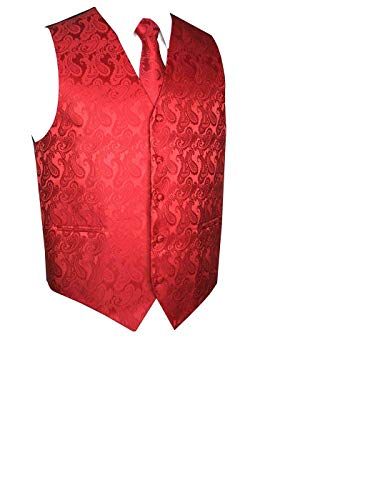 Men's 3pc Paisley Set (2XL (Chest 48), Red)