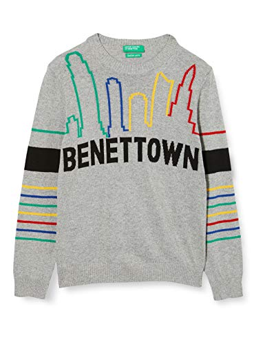 United Colors of Benetton (Z6ERJ) Jungen Maglia G/C M/L Pullover, Melange Light Grey 501, XS