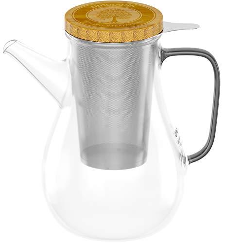 amapodo - Teekanne Glas isoliert 1.1l - Glaskanne hitzebeständig - Teekanne mit Siebeinsatz - Teebereiter - Teapot - Glasteekanne - Kanne für Tee mit Sieb & Deckel - Teezubereiter - Glass Tea Pot