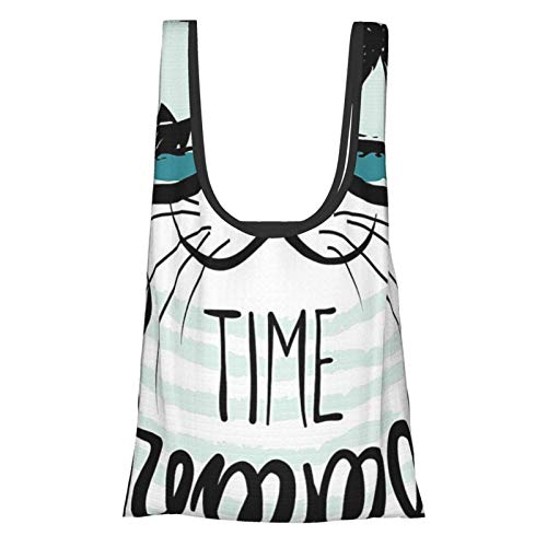 Xinkaize Animal Hipster Cat with Palms Ships with Ocean Reflection Summer Time Image Print Almond Green Black...