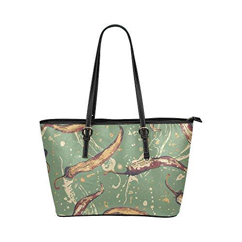 N\A Handtasche für Kleidung Grün Kreatives Gemüse Pfeffer Leder Hand Totes Tasche Kausale Handtaschen Reißverschluss Schulter Organizer Für Damen Mädchen Damen Umhängetaschen Frauen