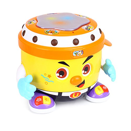 fisca Baby Musical Drum Toys, Learning Educational Toy for Baby & Toddler - Electronic Drum Instruments Set with Lights for 1 2 3 Year Old Boys and Girls