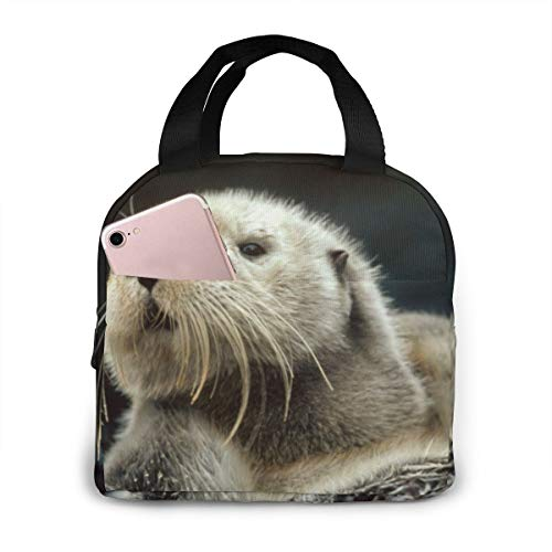 ~ Sea Otters Portable Insulated Lunch Bag Waterproof Tote Bag Lunch Tote