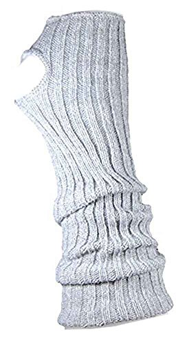 AVIDESO Stulpen Damen/Mädchen/Kinder - Ballettstulpen + Fersenloch - Tanzstulpen Beinstulpen Armstulpen Strick Weich Legwarmer (Erwachsene (ca. 43cm lang), grau)